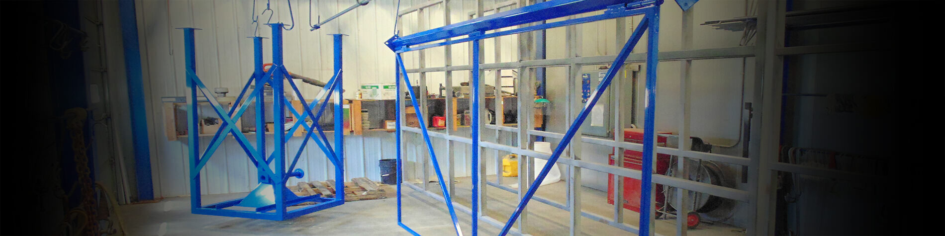 Items hang dry after powder coating application